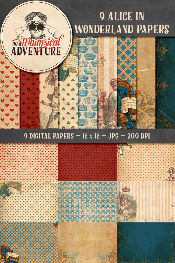 9013OAWAPAAL Alice In Wonderland Papers Preview