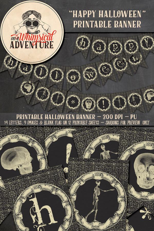 9043OAWABAHA Happy Halloween Banner